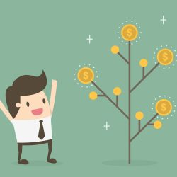 passive income tree with man